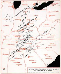 A map of the tornado paths in the 1974 Super Outbreak