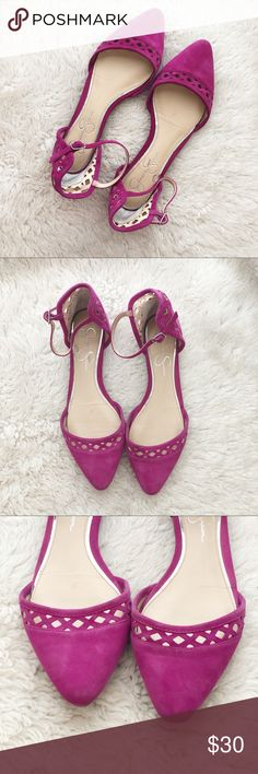 791bb9e536b79 Jessica Simpson Ankle Strap Fuschia Flats Size 8 • Jessica Simpson fuchsia ( pink/purple) d'orsay, pointed toe, faux suede, flats with ankle straps and  laser ...