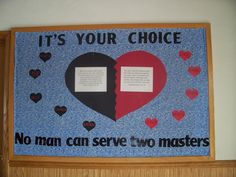 Last month I sponsored a contest for the young teen class to come up with an idea for the February Bulletin Board. Alexis Acey came up with the winning idea for this great board! The board features. Bible Bulletin Boards, February Bulletin Boards, Christian Bulletin Boards, Classroom Bulletin Boards, Classroom Ideas, Classroom Displays, Music Classroom, Sunday School Classroom, Sunday School Crafts