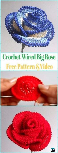 Easy Crochet Rose Flower Free Pattern in 9 Steps Crochet Puff Flower, Knitted Flowers, Crochet Flower Patterns, Crochet Designs, Crochet Roses, Crochet Leaves, Pattern Flower, Paisley Pattern, Wire Crochet