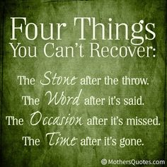 ღ four things you can't recover