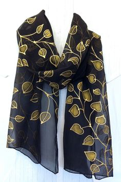 Black Silk Scarf Hand Painted Silk Scarves by SilkScarvesTakuyo, $125.00
