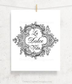 """A printable art with La Dolce Vita Italian decor design, available as instant download JPG file. Great as wall art, kitchen decor or other DIY projects.  JPG SIZE: 8x10 inches (the image itself is approximately 7.5 x 6.2 inches).  HOW IT WORKS: 1- After purchase and payment confirmation, Etsy will take you to the download page and an email will be also sent to you with your download link. 2- Click """"Download"""" to save the files to your computer so you can print and enjoy!  WHATS INCLUDED: One…"""