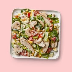 This healthy chopped salad is a great way to use up leftover cooked chicken. You can reserve the remaining hard-boiled egg half for a snack. Healthy Recipes, Clean Eating Recipes, Lunch Recipes, Whole Food Recipes, Healthy Eats, Healthy Salads, Diabetic Recipes, Drink Recipes, Dinner Recipes