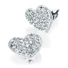 Crystal Heart Clip On Earrings
