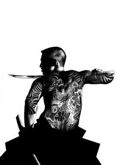 Japanese Samurai with yakuza style tattoo, in ink, artist unknown