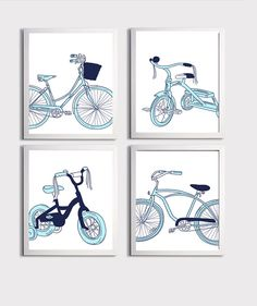 Bicycle Doodles Sky Blue Navy Nursery Kids Room Art by ZeppiPrints, $56.00