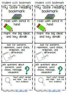 Freebie Close Reading Bookmark/ love this but it should be spelled cloze
