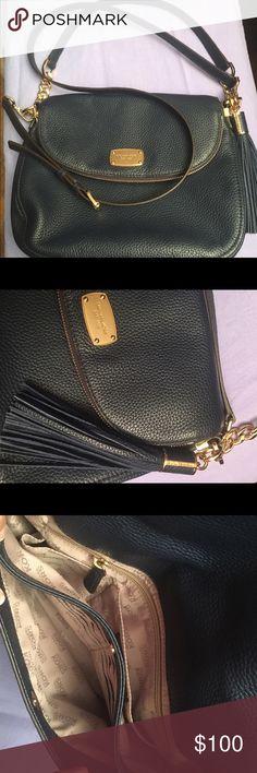 Michael Kors crossbody Navy blue crossbody satchel. Pebbles leather messenger. Saddle bag overlap with zipper. Pockets, zipper, sections, fringe, shoulder bag Michael Kors Bags Crossbody Bags