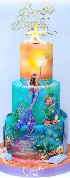 super Ideas for birthday art cake awesome Pretty Cakes, Cute Cakes, Beautiful Cakes, Amazing Cakes, Amazing Art, Crazy Cakes, Fancy Cakes, Mermaid Birthday Cakes, Mermaid Cakes