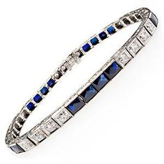 Antique Art Deco Diamond & Blue Sapphire Bracelet.  14K White Gold.  1930's.