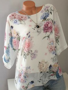 ninacloak.com Womens Fashion Online, Latest Fashion For Women, Printed Blouse, Printed Shorts, Floral Blouse, Cheap Womens Tops, Plus Size Blouses, Short Sleeve Blouse, Half Sleeves