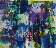Private Garden Series by Caroline Havers, #2 Irises - I Will Always Love You, 140x160 cm, 4.6x5.25 ft, mixed media on four panels