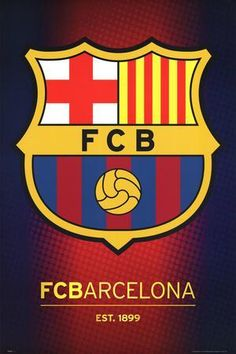 Your love for Barcelona is anything but subtle, just like this poster with large, colorful official Barca team badge. England Football Badge, Barca Team, Football Wall, Football Jerseys, Under The Rain, Fc B, Beautiful Posters, Champions League, Soccer