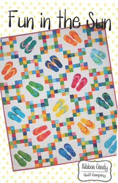 fun in The Sun quilt pattern by Ribbon Candy quilt company This listing is for one paper quilt pattern. This pattern uses a layer cake plus a background background fabric Ocean Quilt, Beach Quilt, Quilting Projects, Quilting Designs, Sewing Projects, Quilting Ideas, Patchwork Quilting, Quilt Design, Scrappy Quilts