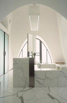 Bathroom Interior Design and Decor Ideas: Christian Liaigre Carrara Marble bathroom