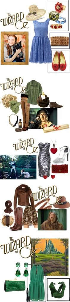 The Wizard of Oz : Dorothe, Scarecrow, Tin Man, Cowardly Lion & Emerald City Ruby Slippers, Casual Cosplay, Halloween Disfraces, Halloween Costumes, Halloween Foods, Halloween 2014, Diy Costumes, Over The Rainbow, Character Outfits