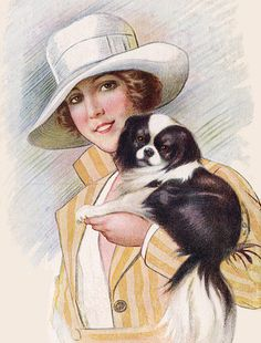 JAPANESE CHIN DOG PRINT GREETINGS NOTE CARD GLAMOUR LADY WITH LARGE WHITE HAT