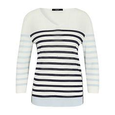 Buy Oui V-Neck Stripe Linen Jumper, White/Blue Online at johnlewis.com