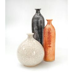 Set of 3 Trio Ceramic Bottles, Modern Fine Home Decor Metallic Light... ($145) ❤ liked on Polyvore featuring home, home decor, vases, ceramic bowl, white vase, white bowl, white ceramic bowl and orange bowl