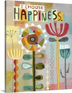 Richard Faust Premium Thick-Wrap Canvas Wall Art Print entitled Happiness Flowers, None Flower Canvas Art, Flower Collage, Motifs Textiles, Paper Collage Art, Affinity Designer, Antique Frames, Mix Media, Altered Art, Fiber Art