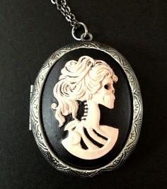 Items similar to Pink Skeleton Lady Gothic Locket Necklace Gothic on Etsy e42c6892187