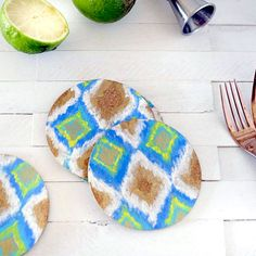 See how to create these Easy DIY Ikat Cork Coasters! Perfect for your next outdoor BBQ or a fun girl's night!