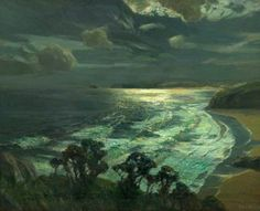 Julius Olsson (British, 1864-1942), Moonlight, St Ives' Bay, Cornwall, c.1937. Oil on canvas, Derby Museum and Art Gallery, Derby. Why is there something almost magical about seeing the world (or taking a walk) in bright moonlight?