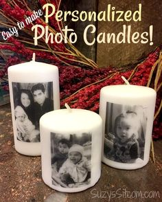 DIY Personalized photo candles perfect for wedding gifts or bridal shower gifts Suzy's Artsy Craftsy Sitcom. Personalised Gifts Diy, Personalized Candles, Handmade Gifts, Diy Photo, Photo Craft, Photo Candles, Diy Candles, Ideas Candles, Custom Candles