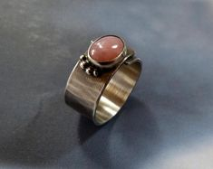 Pink opal ring, Sterling silver, handmade, OOAK jewelry, graduation gift, birthday gift for her, rustic ring, pink gem, gift for daughter