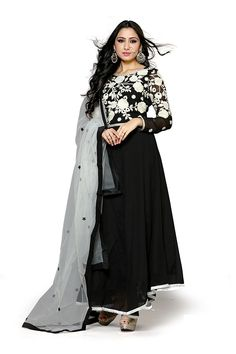 Black Color Georgette Fabric Anarkali