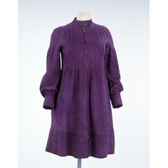 Purple suede mini dress, 1965    Place of origin:  England (made)    Date:  1966 (made)    Artist/Maker:  Jean Muir, born 1928 - died 1995 (designer)    Materials and Techniques:  Suede