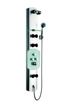 "www.vanityforless.com B-187  Contemporary Shower and Body Massage Jets  70 3/4"" x 4 1/2""     Turn your ordinary shower into a home spa with a shower panel. Installation is easy with only a hot and cold water connect and fast mounting on wall-attached brackets.     Unit Includes:  Hand held shower head  3 adjustable body massage jets  Stainless Steel Column"