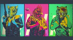 An edited wallpaper version of my Hotline Miami pieces - Imgur