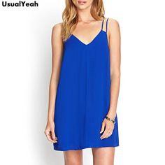 d2cda43bb19f Sleeveless Chiffon Slip Dress Summer Dress Sexy V Neck Casual Mini Dresses  Blue Black