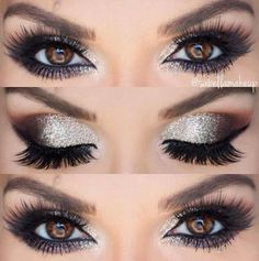 single shadows in fudge, Morocco an… Friday Night Vibes! single shadows in fudge, Morocco and noir, brow wiz in med brown and brow gel in clear they're real mascara tar Sparkle Makeup, Glitter Makeup, Glitter Brows, Glittery Nails, Glitter Heels, Glitter Hair, Silver Eyeshadow, Eyeshadow Makeup, Silver Eye Makeup