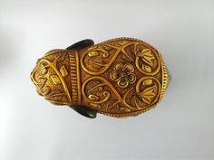 Wooden Elephant Gold Foil Work Used Carved Elephant Big | Etsy