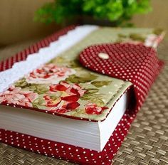 Have a lovely fat notebook ready for all your creative writing ideas. Fabric Crafts, Sewing Crafts, Sewing Projects, Paper Crafts, Book Crafts, Diy And Crafts, Fabric Book Covers, Bible Covers, Fabric Journals