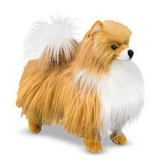 It's easy to fall for this fluffy puff of a Pomeranian.  With excellent quality construction, it features attention to lifelike details, from the tips of its pointed ears, right down to the tip of its curled tail.  Authentic coloring adds to the realism.