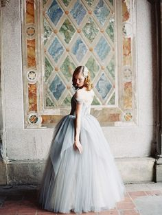 OBSESSED with this misty-blue tulle gown from Sareh Nouri's 2014 collection