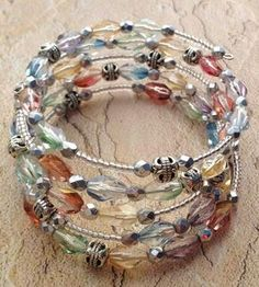 A Little Bit of Spring memory wire bracelet. by KristenMiedreich