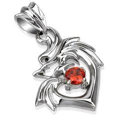 Pendentif acier silhouette de dragon entourant un coeur