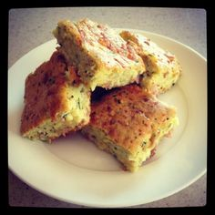 Zucchini slice.... Heat Oven to 170degrees 5 Eggs 160 g self raising flour 1 and half (or 2 small) Zucchinis roughly chopped 1 Med Onion Cut into Quarters 160g Ham roughly chopped 150g Cheese 50g EVOO Grate th...