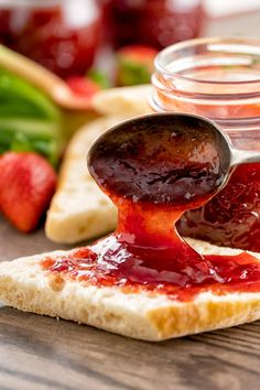 Our strawberry rhubarb jam recipe uses only four ingredients and bursts with the sweet flavor of fresh strawberries and tangy rhubarb. Though you can make it on the stovetop, we use the Instant Pot to make this so it comes together in a snap! One taste and you will never go back to buying regular jam from the grocery store again. You and your family will want to spread this on everything! Video Recipe. Delicious Vegan Recipes, Vegetarian Recipes, Superfood Recipes, Amazing Recipes, Vegan Vegetarian, Easy Recipes, Healthy Recipes, Strawberry Rhubarb Jam, Strawberry Recipes