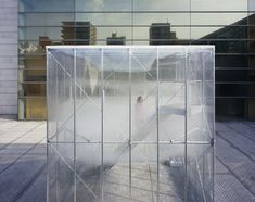 Built by Tetsuo Kondo Architects,TRANSSOLAR / Matthias Schuler in Tokyo, Japan with date Images by Yasuhiro Takagi. We created a small bank of clouds in the Sunken Garden of the Museum of Contemporary Art Tokyo.The clouds billow sof. New Architecture, Japanese Architecture, Temporary Architecture, Tokyo Museum, Journal Du Design, Venice Biennale, Museum Of Contemporary Art, Glass Boxes, Dutch Artists