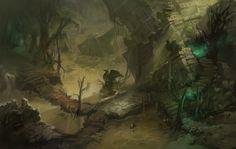Diablo III: Reaper of Souls Bog Concept, Grace Liu on ArtStation at https://www.artstation.com/artwork/exdBP