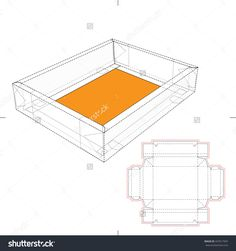 Double Edge Tray Package Box With Blueprint Template Stock Vector Illustration 447617947 : Shutterstock