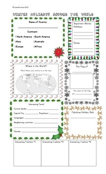 Great poster for guiding & displaying research into different Winter Holiday Celebrations around the world!