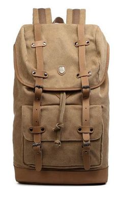 #Canvas #Leather Style #Travel Laptop School #Backpack