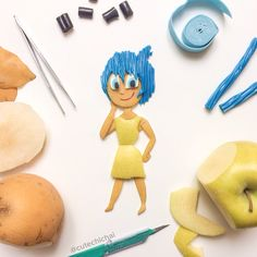 Food art. Joy from the movie Inside Out.